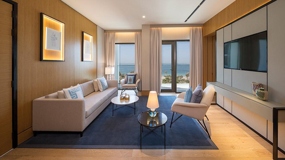 Living room of the Ocean King Suite at Caesars Resort Bluewaters