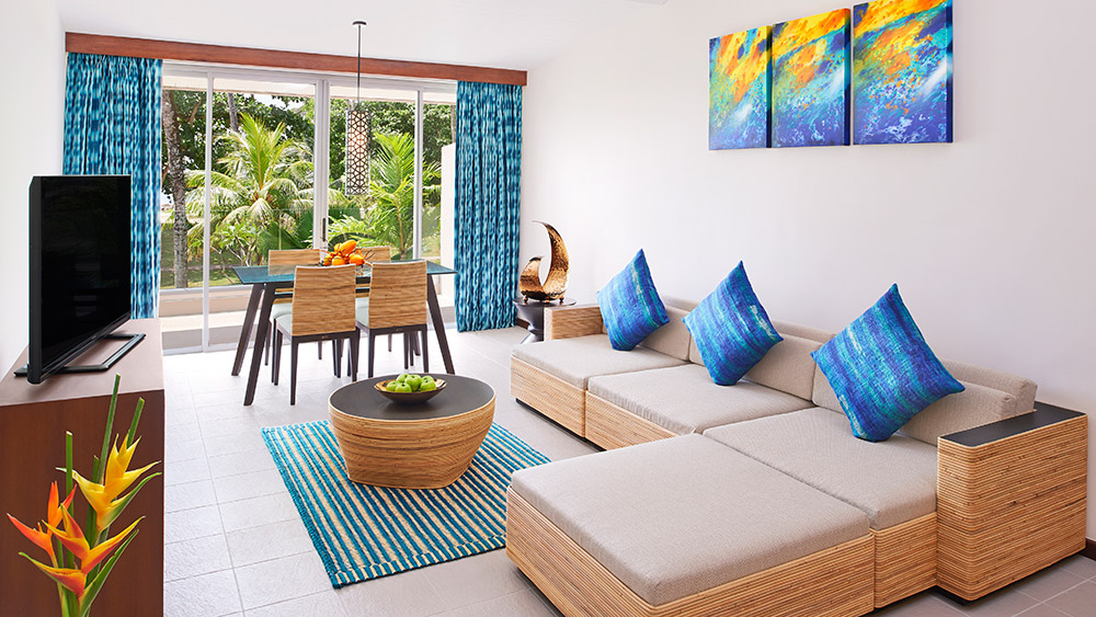 Living area of the Ocean View Suite at AVANI Barbarons Seychelles