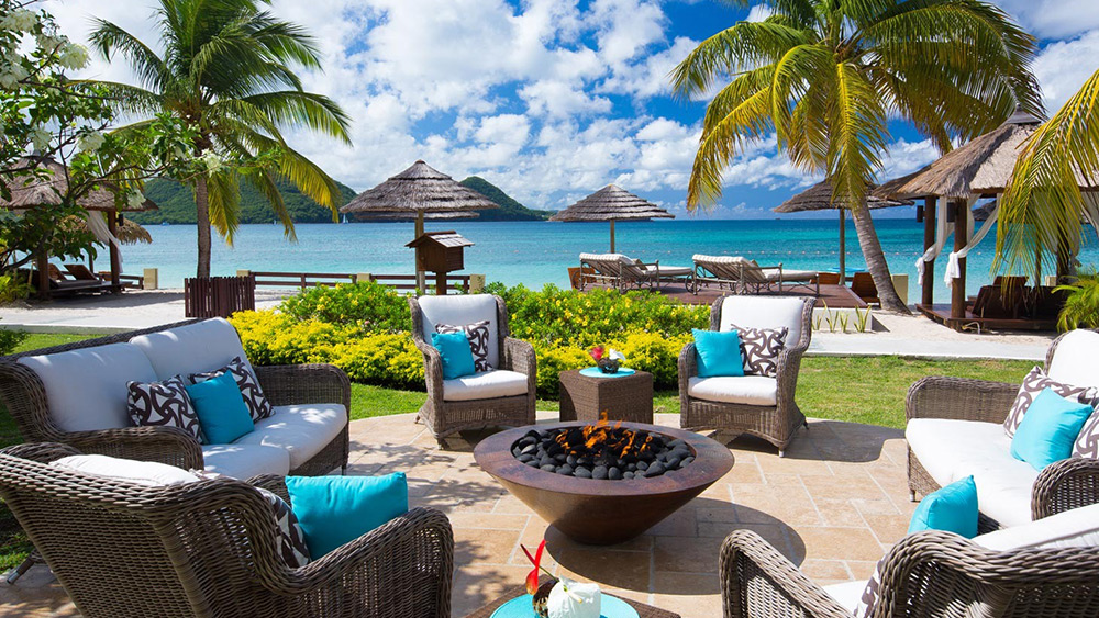 Outdoor seating at Sandals Grande St Lucian