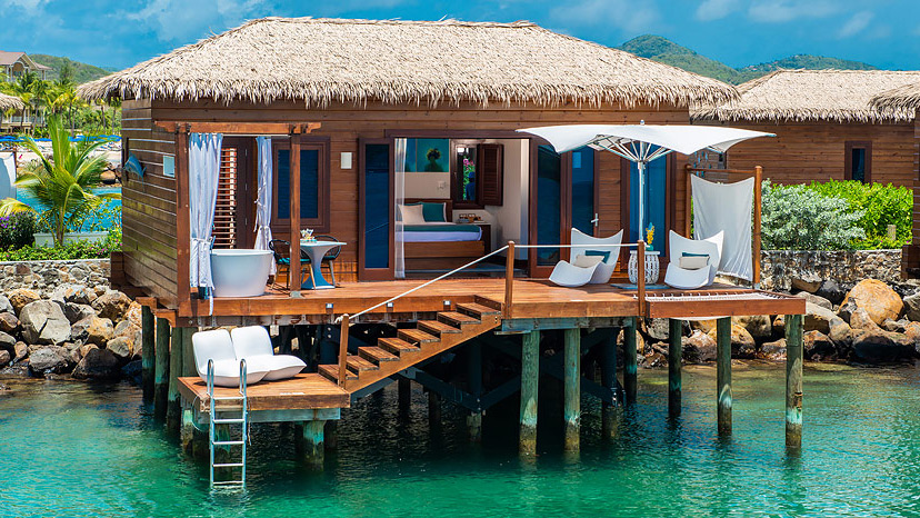 Exterior of the Over-the-Water Bungalow at Sandals Grande St Lucian