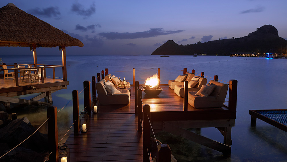 Overwater fire pit at Sandals Grande St Lucian