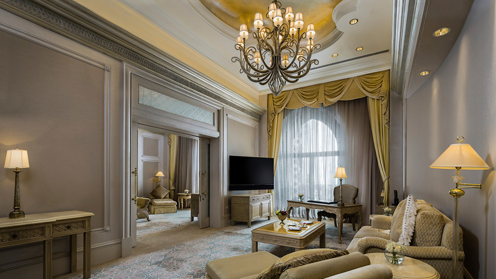 Living room of the Coral Palace Suite at Emirates Palace