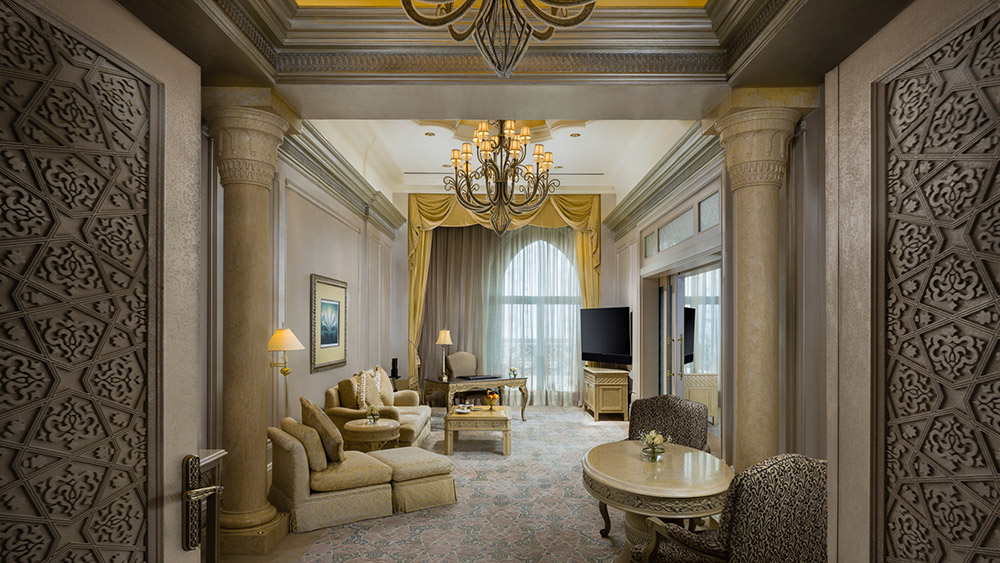 Living room of the Pearl Palace Suite at Emirates Palace