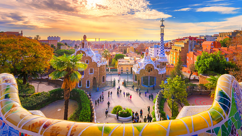 View from Parc Guell at Sunset in Barcelona