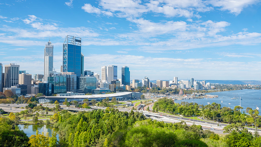 Perth skyline on an Australia multi-centre holiday