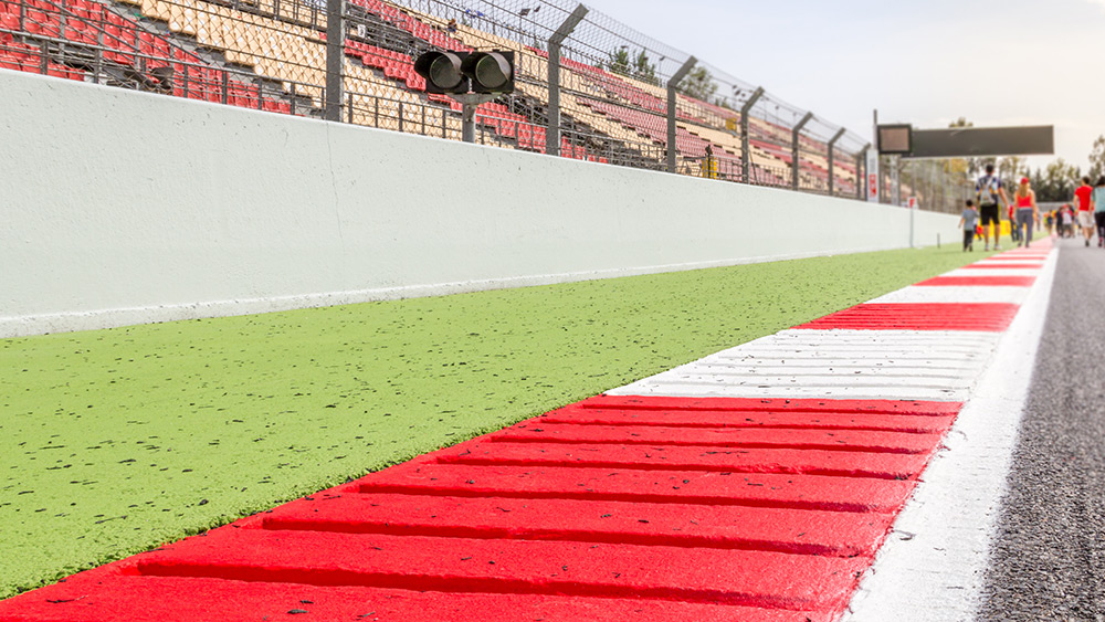 Pit straight of the Circuit de Barcelona-Catalunya at the Spanish F1 Grand Prix