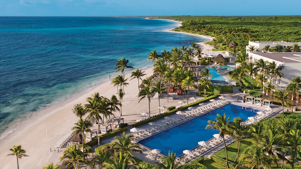 Aerial view of the pool & beach at Dreams Tulum Resort & Spa