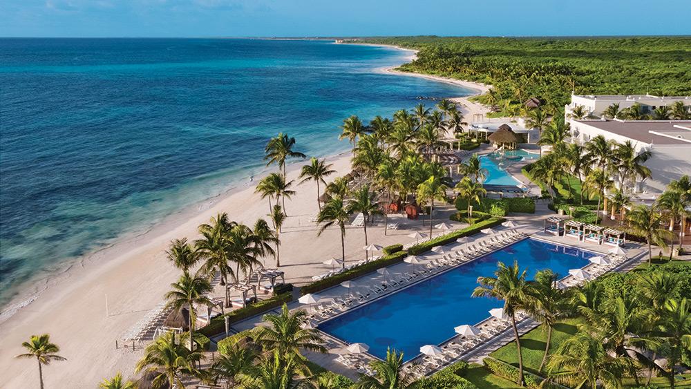 Aerial view of the pool & beach at Dreams Tulum Resort & Spa