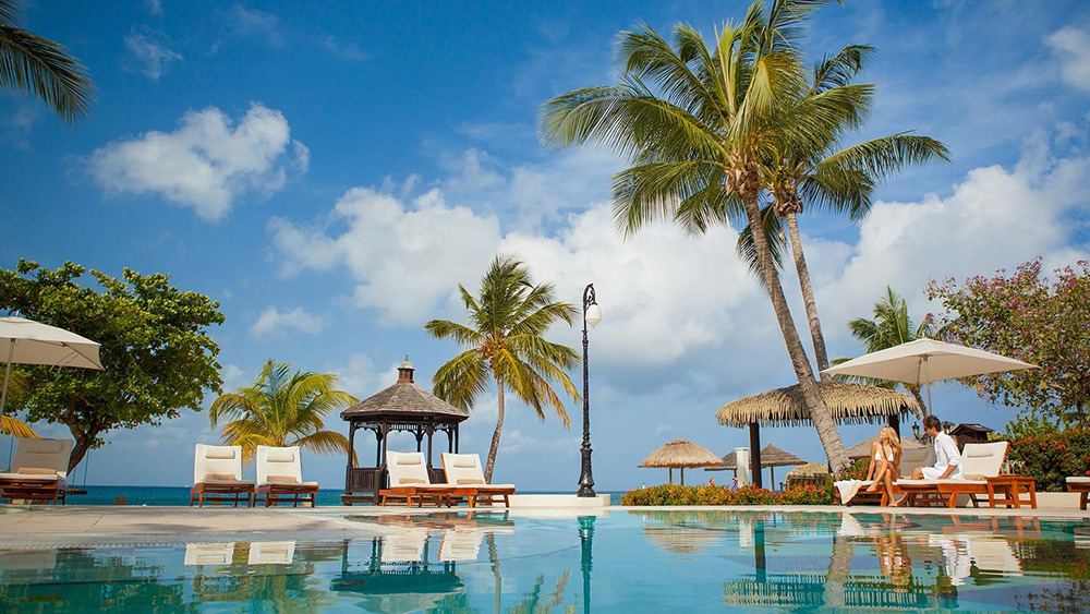 The pool at Sandals Grande St Lucian