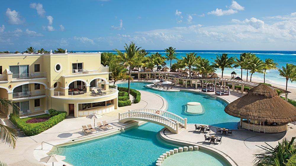 Aerial view of the main pool at Dreams Tulum Resort & Spa