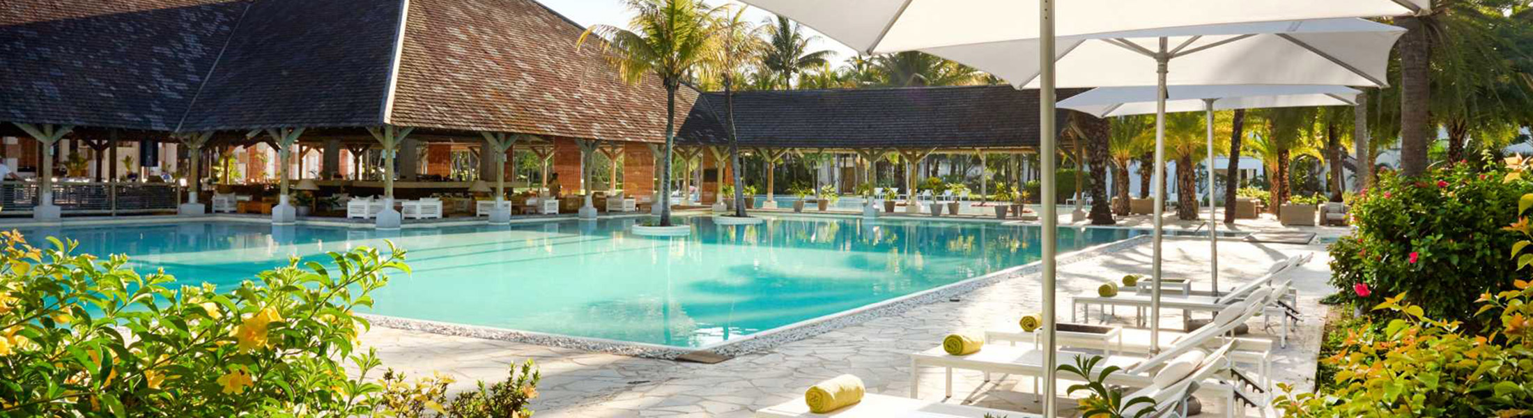 Pool & Loungers at Ravenala Attitude in Mauritius
