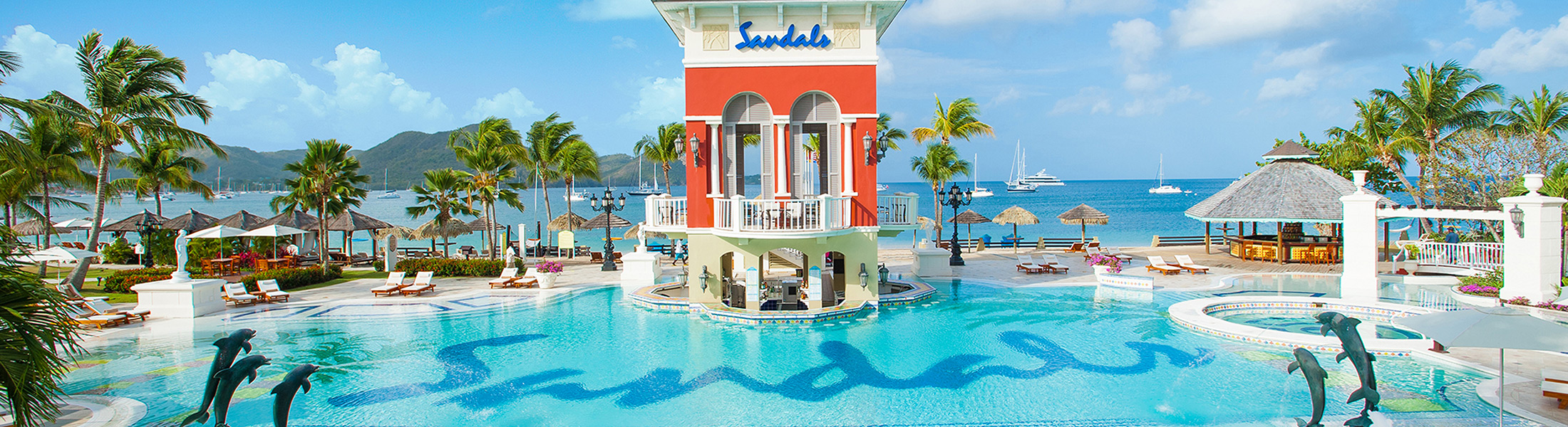 Swim-up bar at Sandals Grande St Lucian