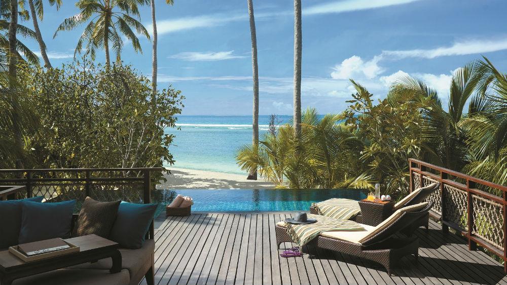 Pool villa deck Shangri La Villingili Maldives