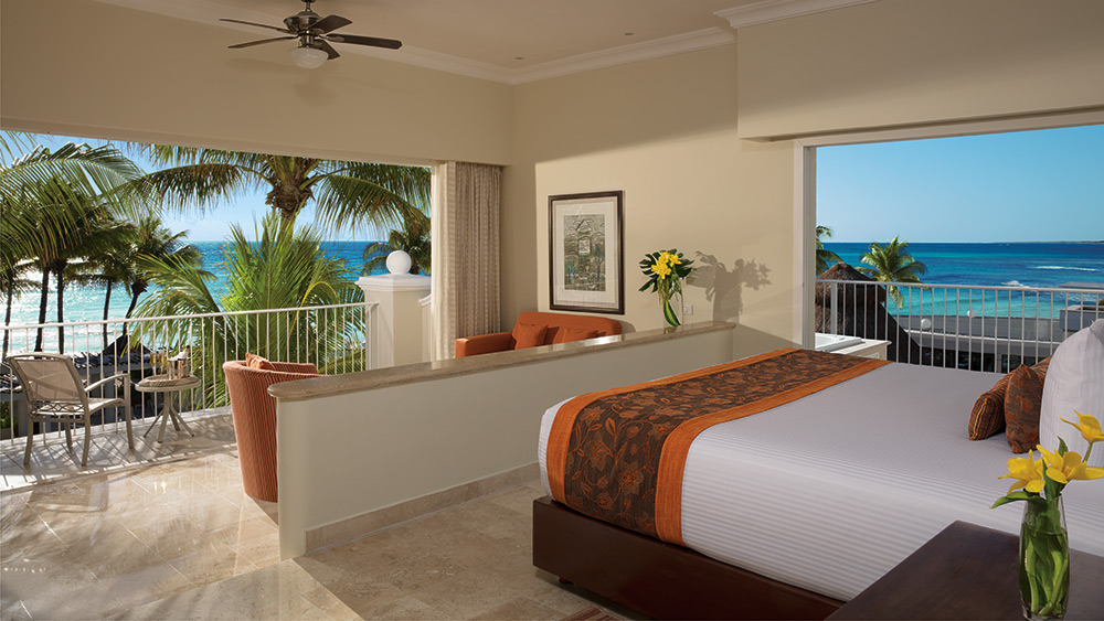 Bedroom with an ocean view at Dreams Tulum Resort & Spa