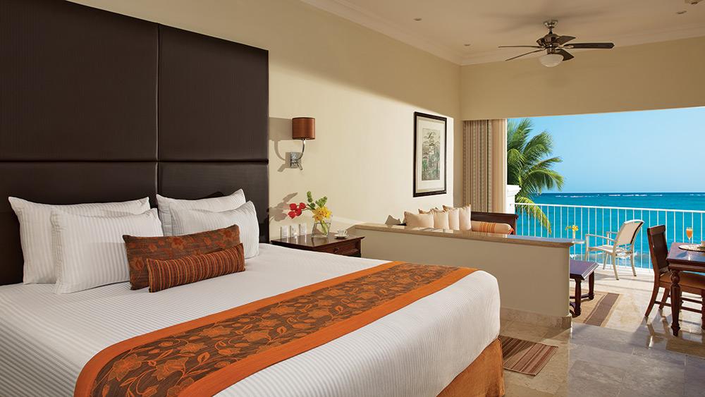Bedroom with ocean views at Dreams Tulum Resort & Spa