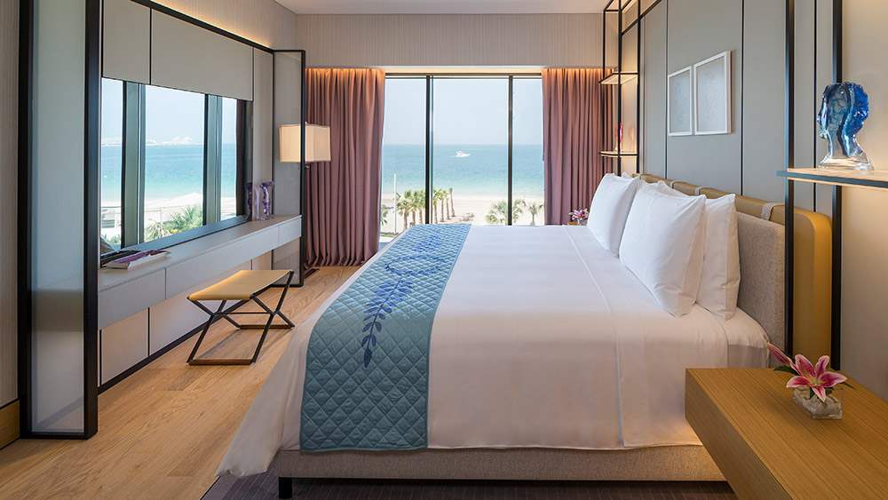 Bedroom of the Premium Ocean King Suite at Caesars Resort Bluewaters