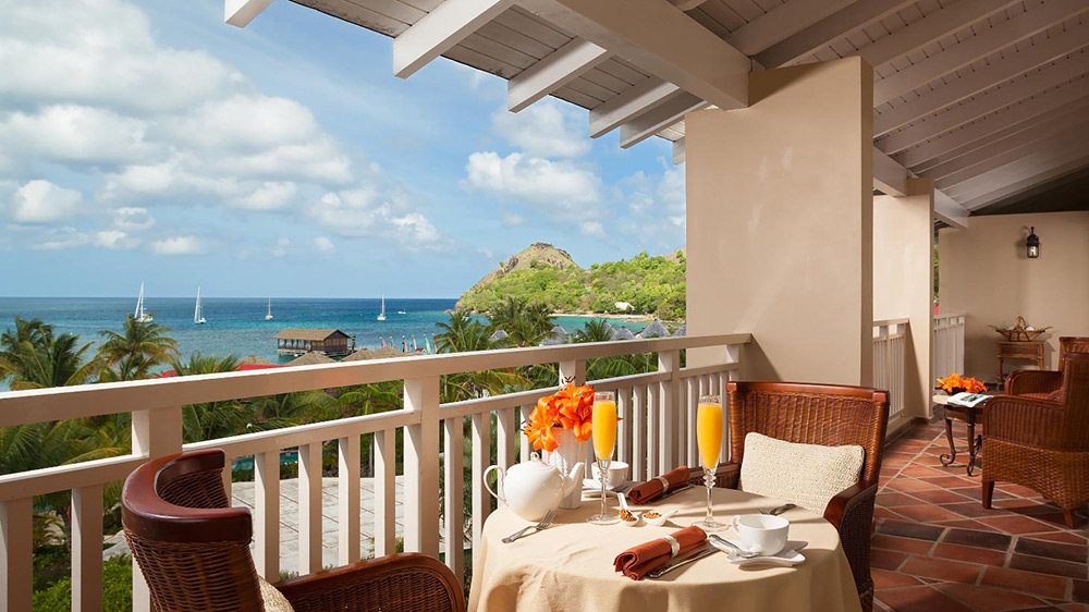 Balcony of the President Clinton Ocenfront Penthouse at Sandals Grande St Lucian
