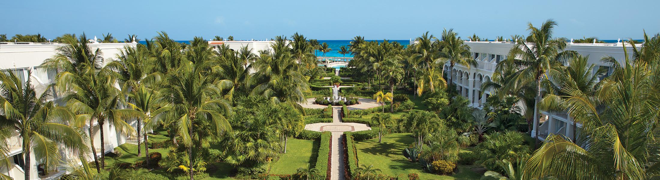 Aerial view of the resort gardens at Dreams Tulum Resort & Spa