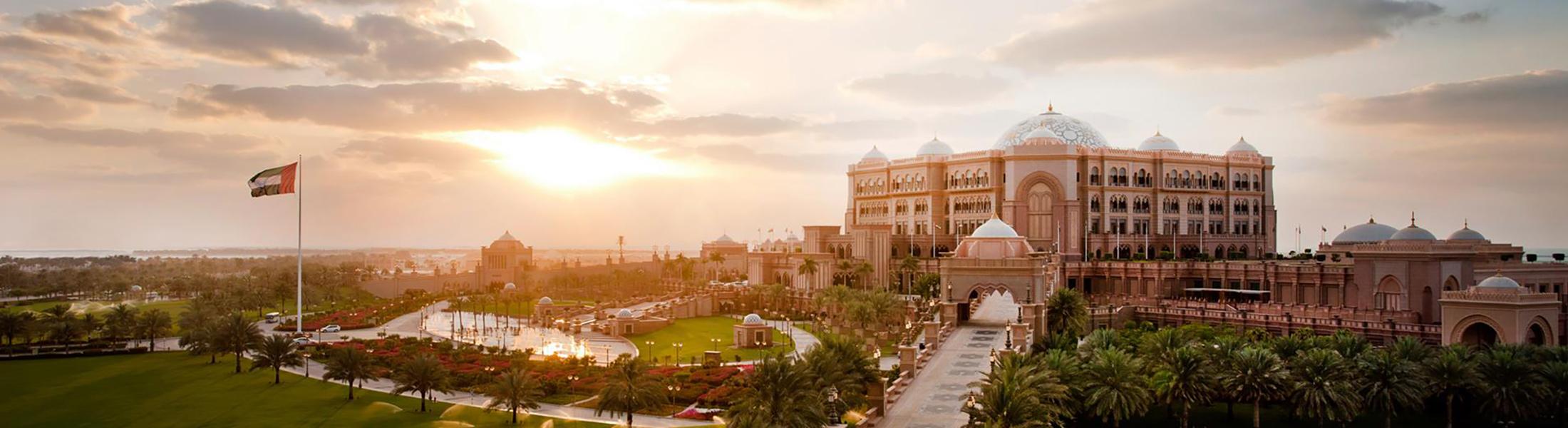Exterior of Emirates Palace at sunset