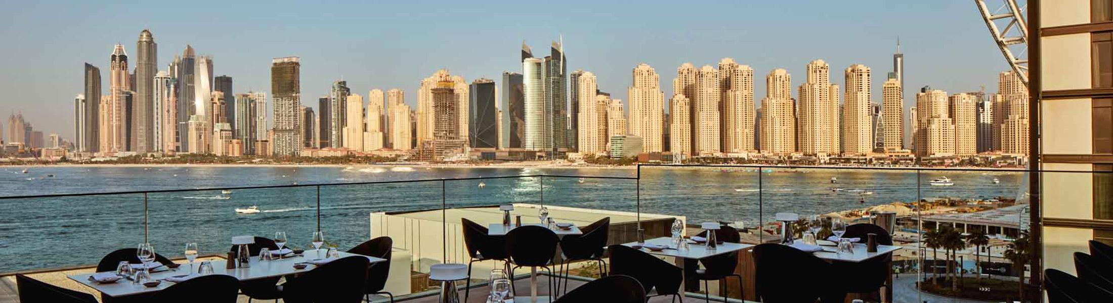View of the Dubai skyline from Paru Restaurant at Caesars Resort Bluewaters