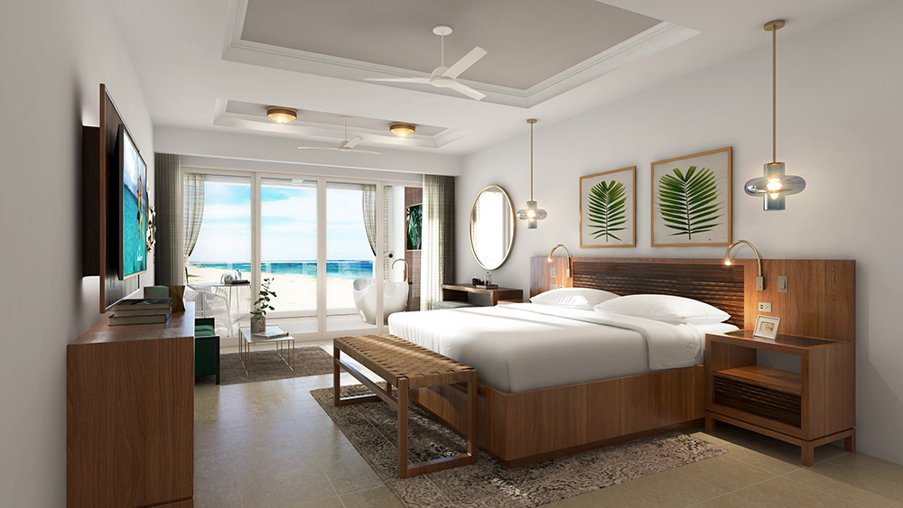 Bedroom of the Royal Beachfront Club Elite Suite at Sandals Royal Caribbean