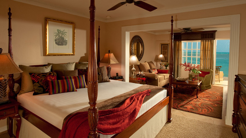 Bedroom of the Royal Beachfront Honeymoon One Bedroom Suite at Sandals Royal Caribbean