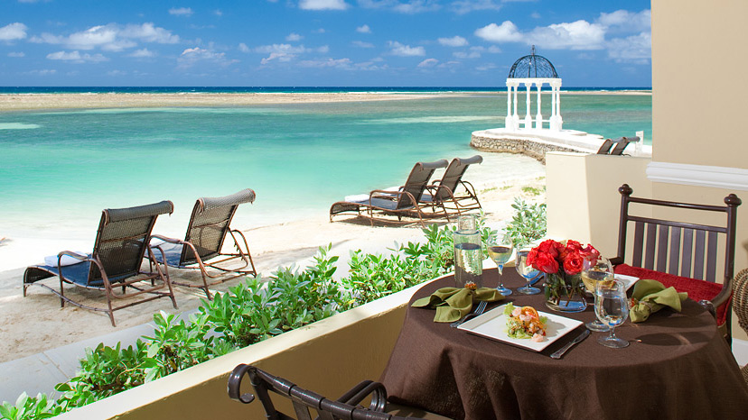 Terrace of the Royal Beachfront One Bedroom Suite at Sandals Royal Caribbean
