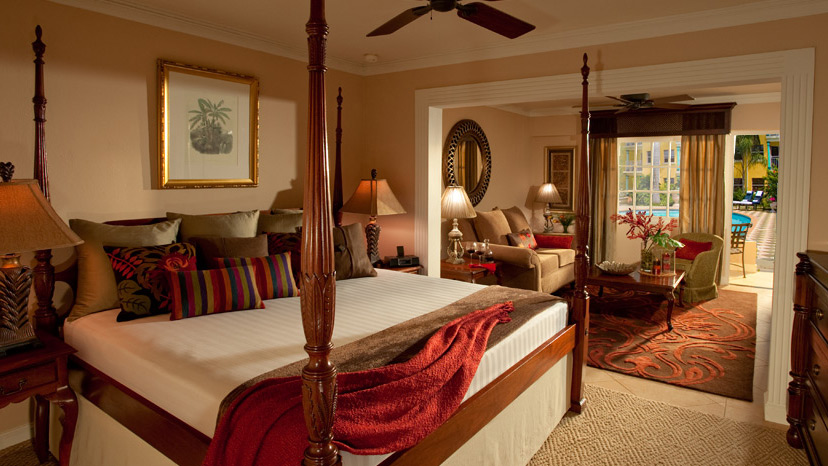 Bedroom of the Royal One Bedroom Suite at Sandals Royal Caribbean