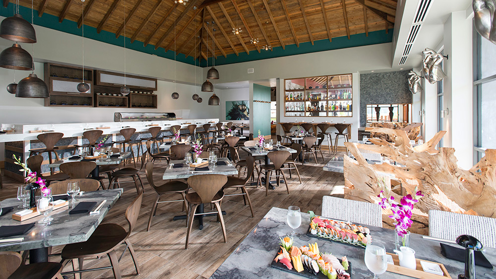 Indoor dining at SOY Restaurant at Sandals Grande St Lucian