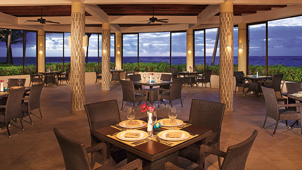 Dining room of the Seaside Grill at Dreams Tulum Resort & Spa