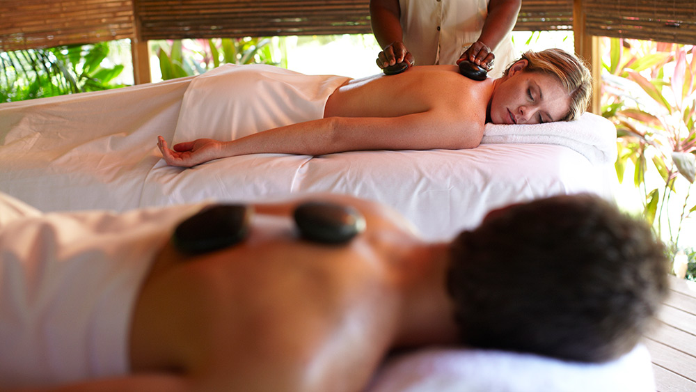 Couples hot stone massage at Sandals Royal Caribbean