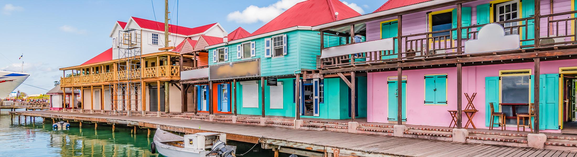 Colourful houses in St John's in Antigua