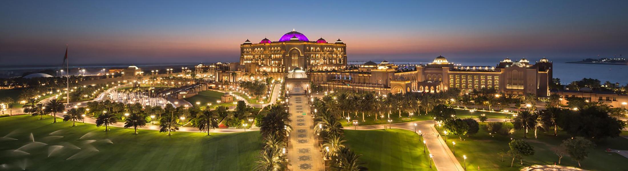 Exterior at night of Emirates Palace