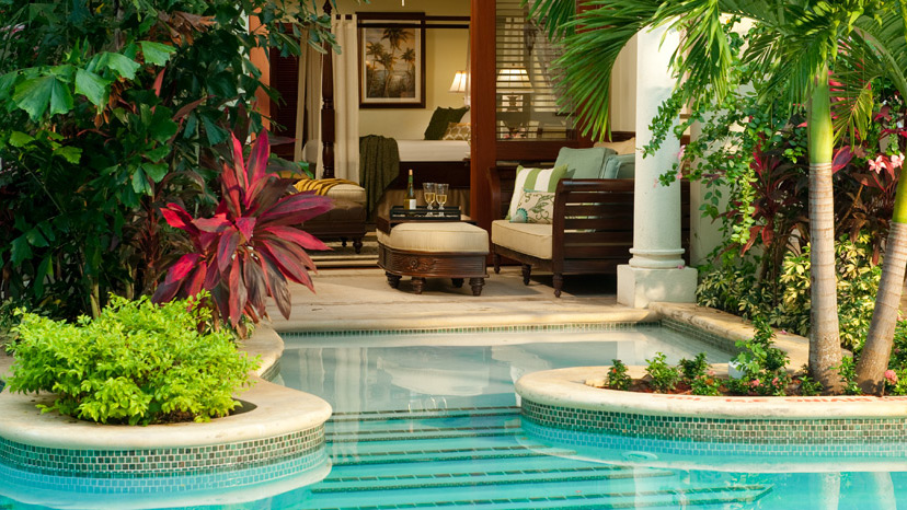 Terrace of the Swim-Up Crystal Lagoon Honeymoon 1 Bedroom Suite at Sandals Royal Caribbean