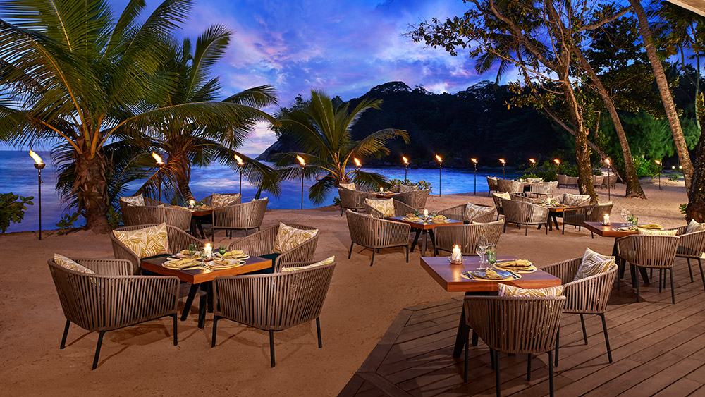 Sunset at Tamarind Restaurant at AVANI Barbarons Seychelles