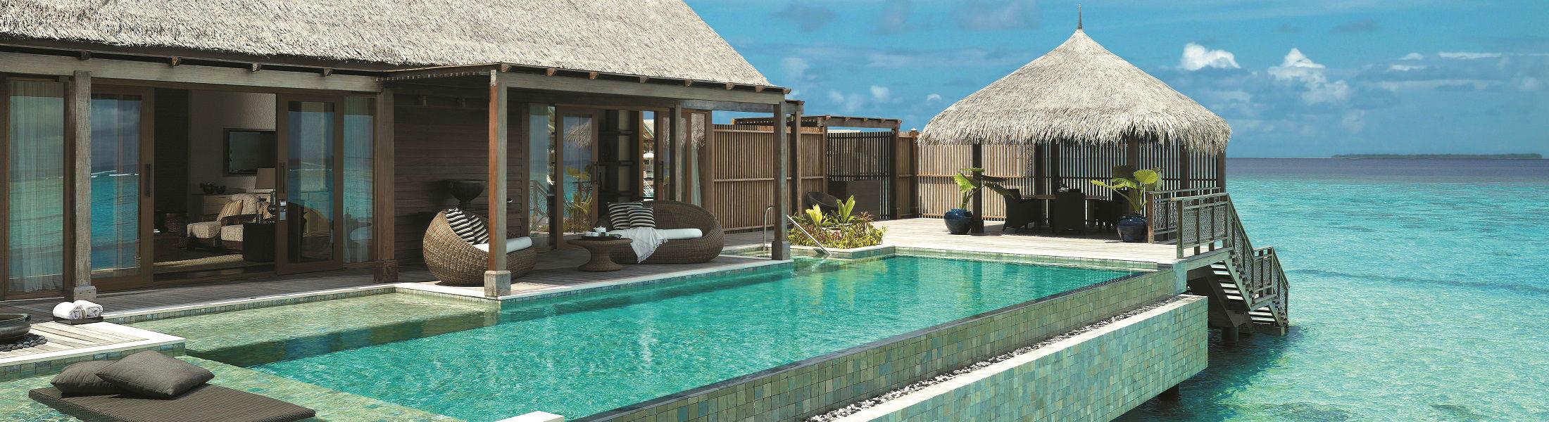 Villa Muthee deck and infinity pool at the Shangri La Villingili Maldives
