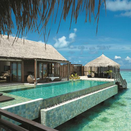 Villa Muthee deck and infinity pool Shangri La Villingili Maldives