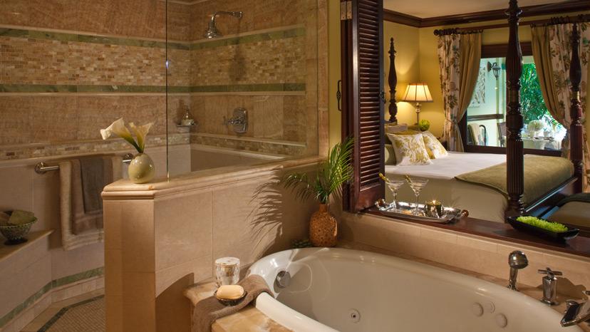 Bathroom of the Walkout Swim up Crystal Lagoon Honeymoon Suite at Sandals Royal Caribbean