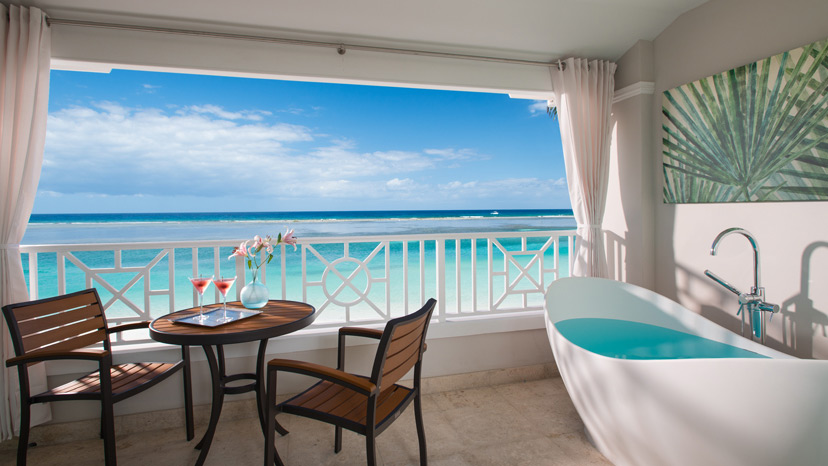Balcony of the Windsor Beachfront Club Elite Room at Sandals Royal Caribbean