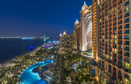 building and royal pool night at the Atlantis The Palm