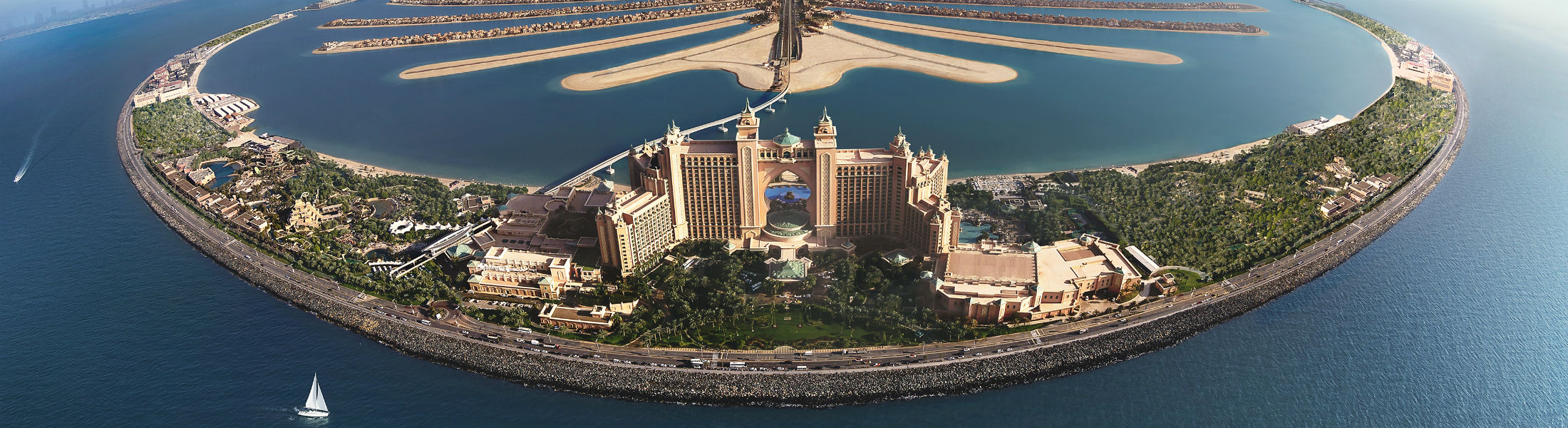 Aerial shot of the resorts landscape at the Atlantis The Palm