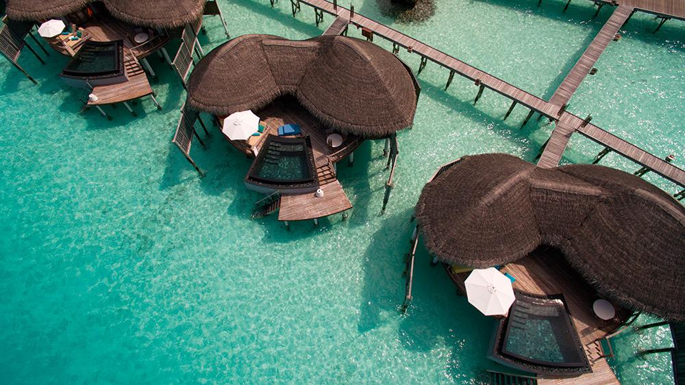 Aerial view of the water villas at Constance Halaveli
