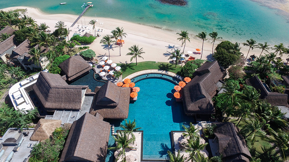 Aerial view of the infinity pool at Constance Prince Maurice