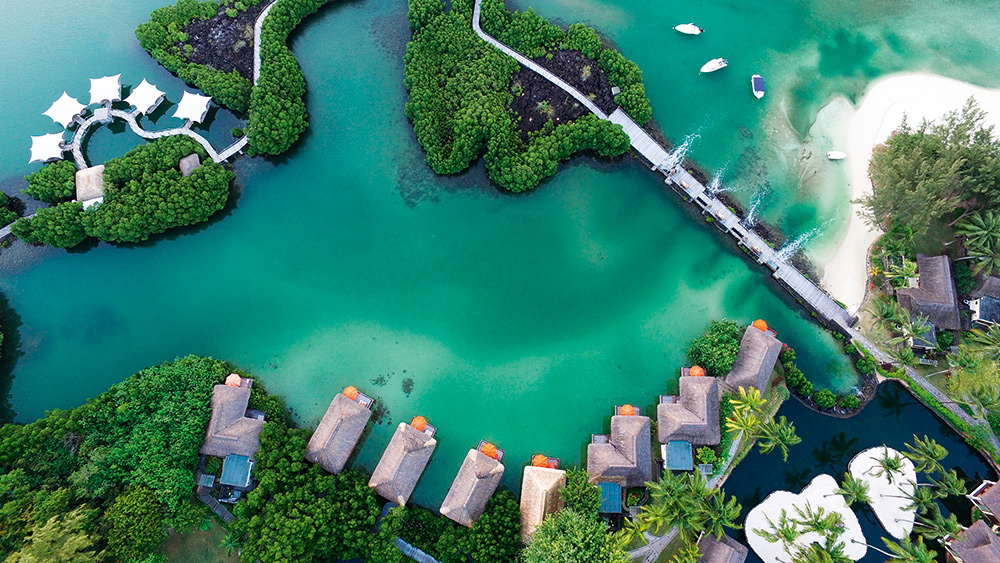 Aerial view of the villas on stilts at Constance Prince Maurice