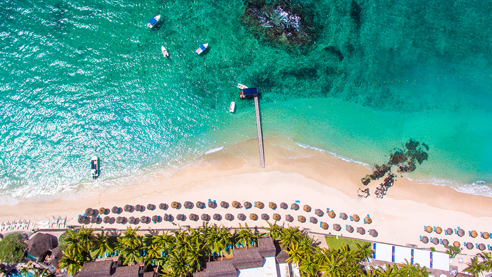 Aerial view of the beach at Constance Belle Mare Plage