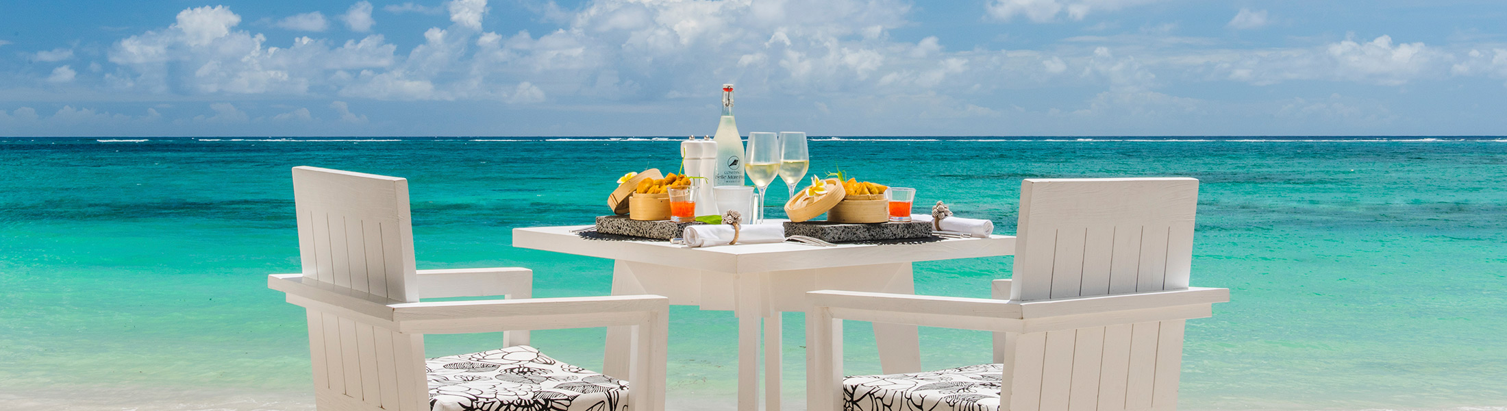 Beach dining at Constance Belle Mare Plage