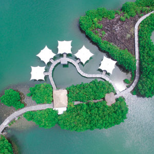 Aerial view of the Floating Restaurant at Constance Prince Maurice