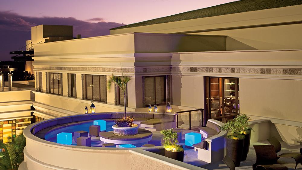 Rooftop restaurant at sunset at Dreams Riviera Cancun