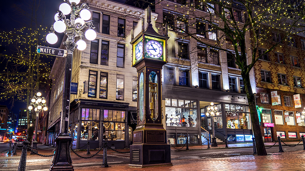 Famous clock in Gastown in Vancouver