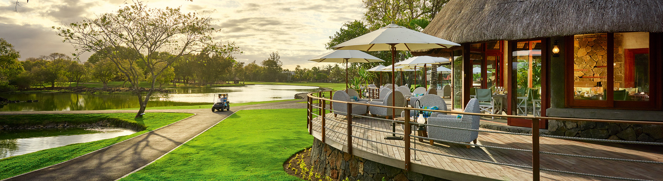 Restaurant overlooking the golf course at Constance Belle Mare Plage